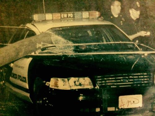 July 2001 – Ofc. Matthew Carl narrowly escapes injury after a vehicle crashed into a utility pole causing it to strike Carl's patrol vehicle