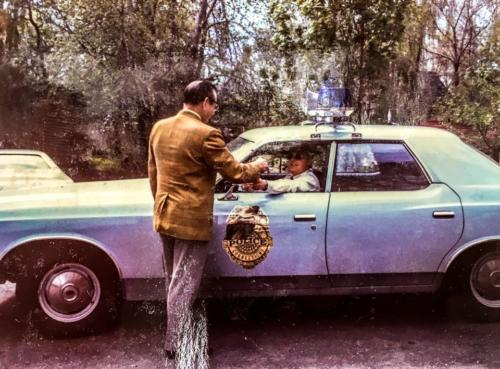April 1973 – First Selectman John Daley handing keys over to Police Chief Gerald Olmstead