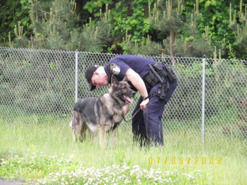 Retired K-9 Mack with Sgt. David McNeice