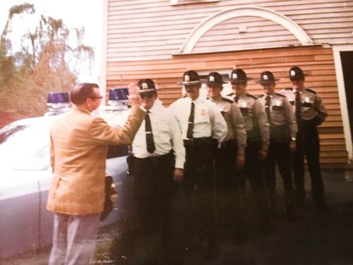 First Selectman John L. Daley, Chief Gerald F. Olmstead, Lt. Thomas Laufer Sr., Ofc. Richard Skowran, Ofc. Bruce Fader, Ofc. Carl Weymouth Jr., Ofc. Thomas Moran